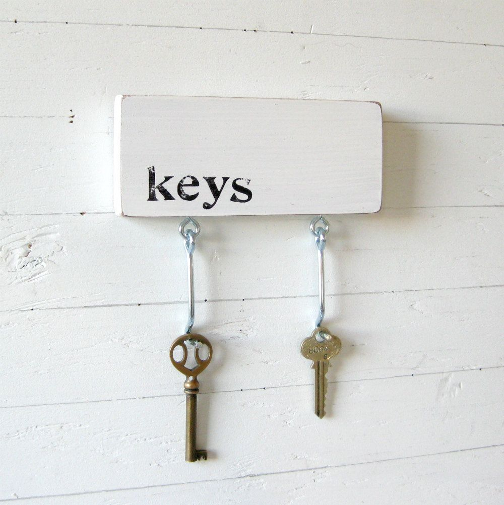 Black And White Key Rack Organizer Wall Hooks For Gifts Him Minimalist Keys Series A