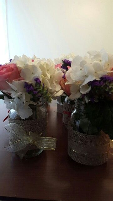 Flower arrangements #DIY #masonjar #burlap #ribbon