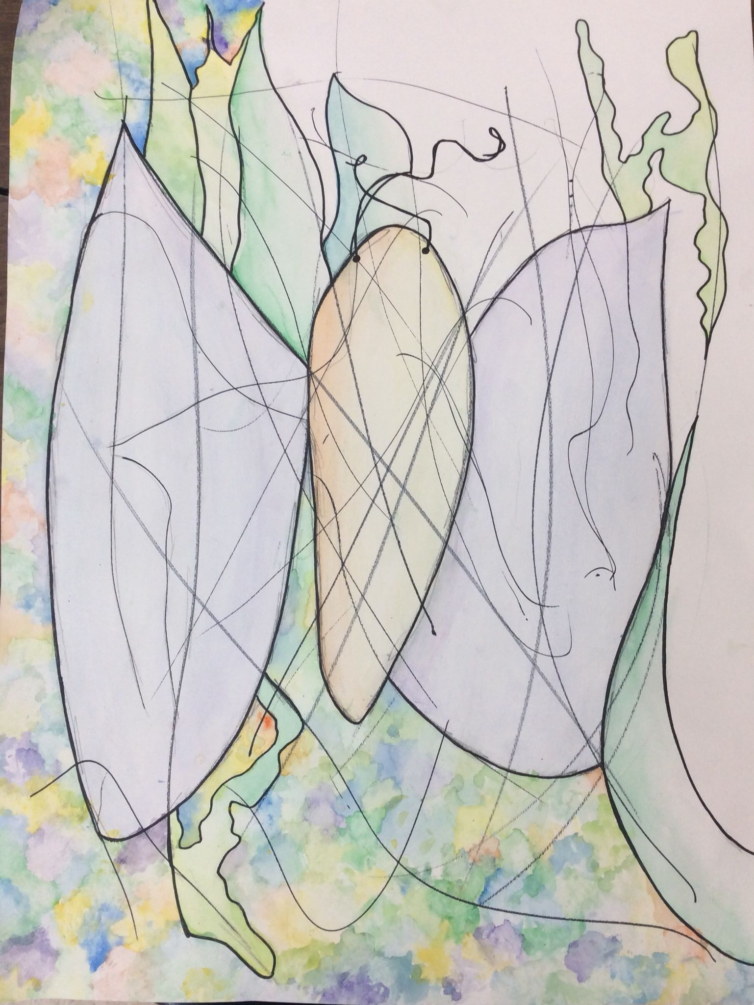 Expressive Line Middle School Project Watercolor