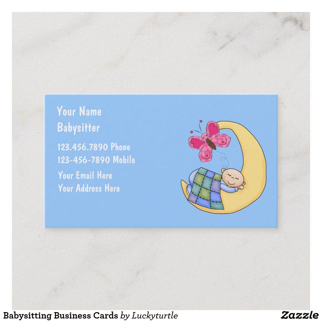 Babysitting Business Cards Zazzle Com Business Card Design Business Cards Kids Daycare
