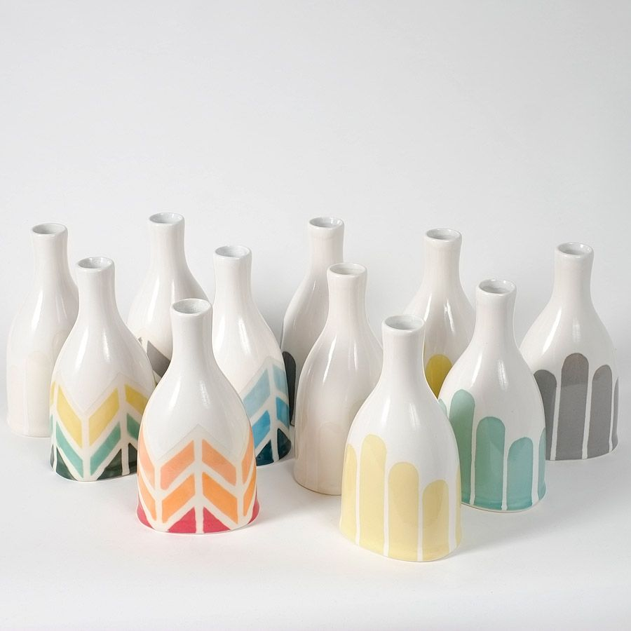 A few new colours and fresh takes on my classic striped bottle vases, this listing includes a white-on-white super subtle striped vase, a butter yellow, a harvest yellow, a soft grey and a medium grey. Soon to be added: coral! The striped bottle vase was inspired by some striped paintings from my Art School days! A unique oval shape at the base, but with a round bottle shape that was inspired by vintage bottles. Slip-cast from my original design, there are stripes at various hei...