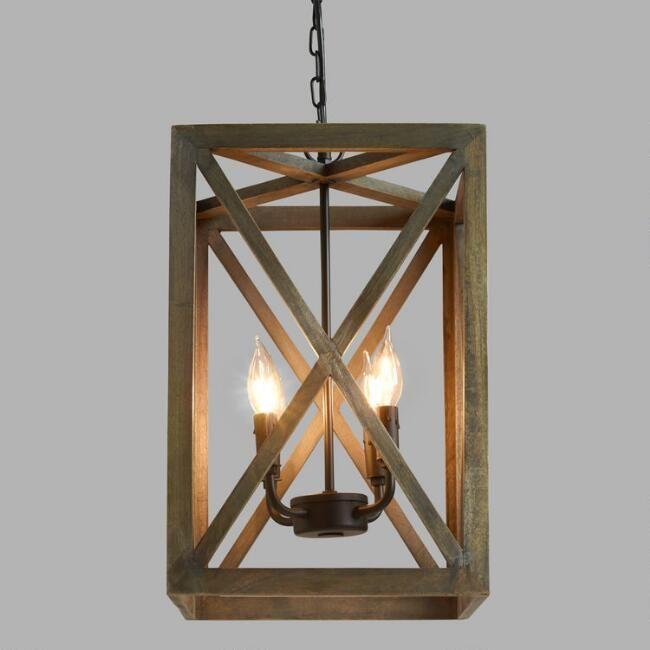Wood Iron Valencia Chandelier Wood Pendant Light Wood