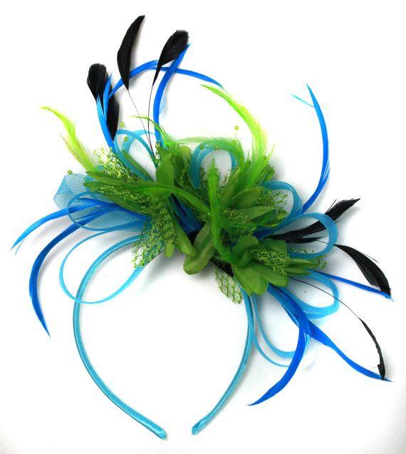 e153e425daf7d Aqua and Green Black Net Hoop   Feathers Fascinator On Headband ...