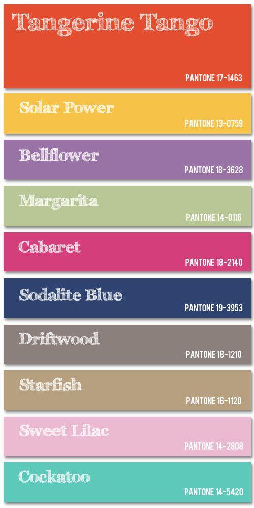 Pantone spring 2012 fashion color palette.