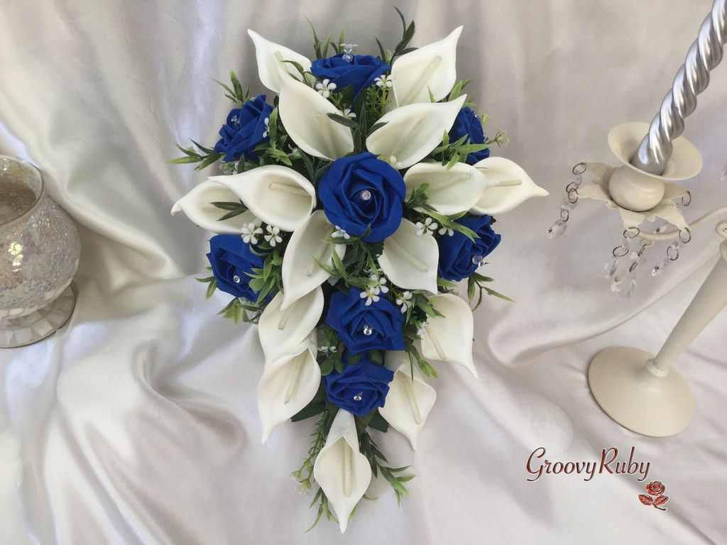 Royal blue rose large ivory calla lily rose large calla lily royal blue rose bouquet wedding ideas artificial wedding flowers flower girl bouquet izmirmasajfo