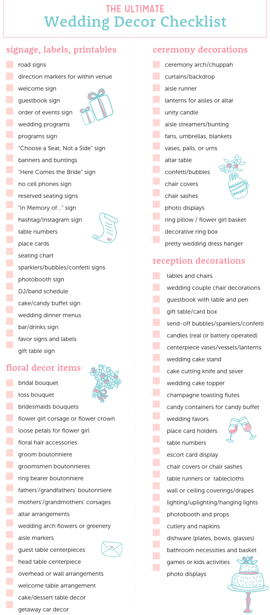 Ultimate Wedding Decor Checklist At The Budget Savvy Bride In 2020 Decor Checklist Wedding Decorations Wedding Checklist