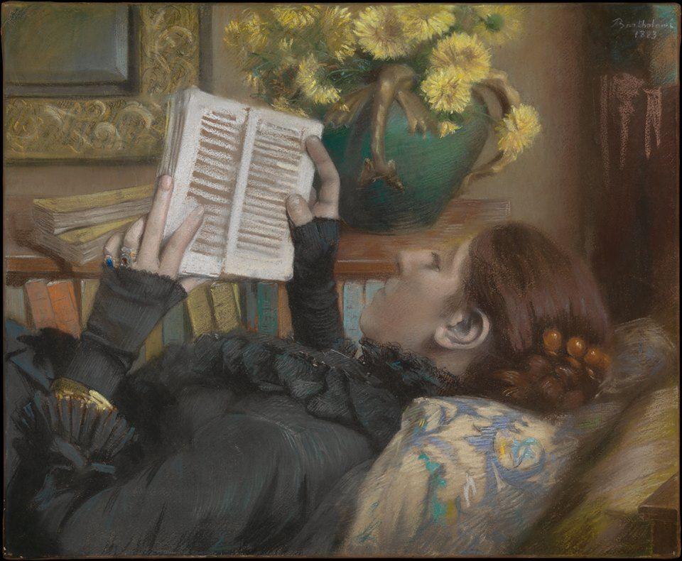 Albert Bartholomé (French, 1848–1928) | The Artist's Wife (Périe, 1849–1887) Reading | 1883