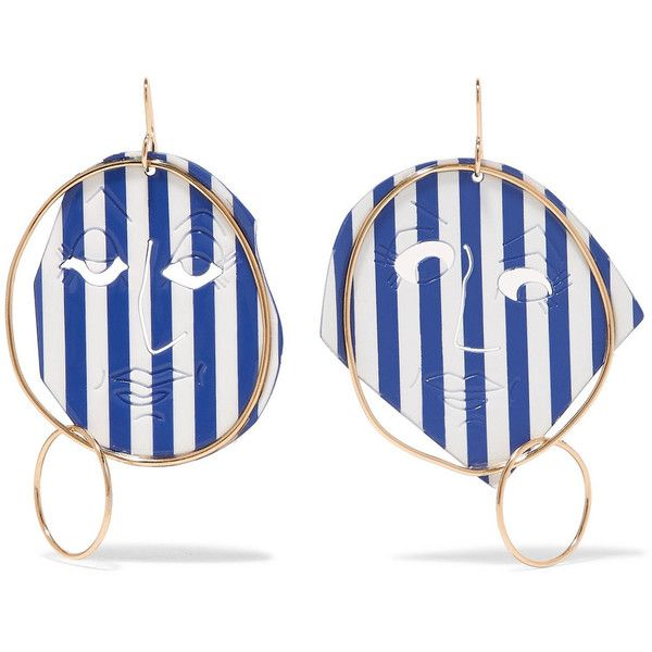 J.W.Anderson Moon Face Gold-tone And Varnish Earrings - Blue QVnoX2OUk