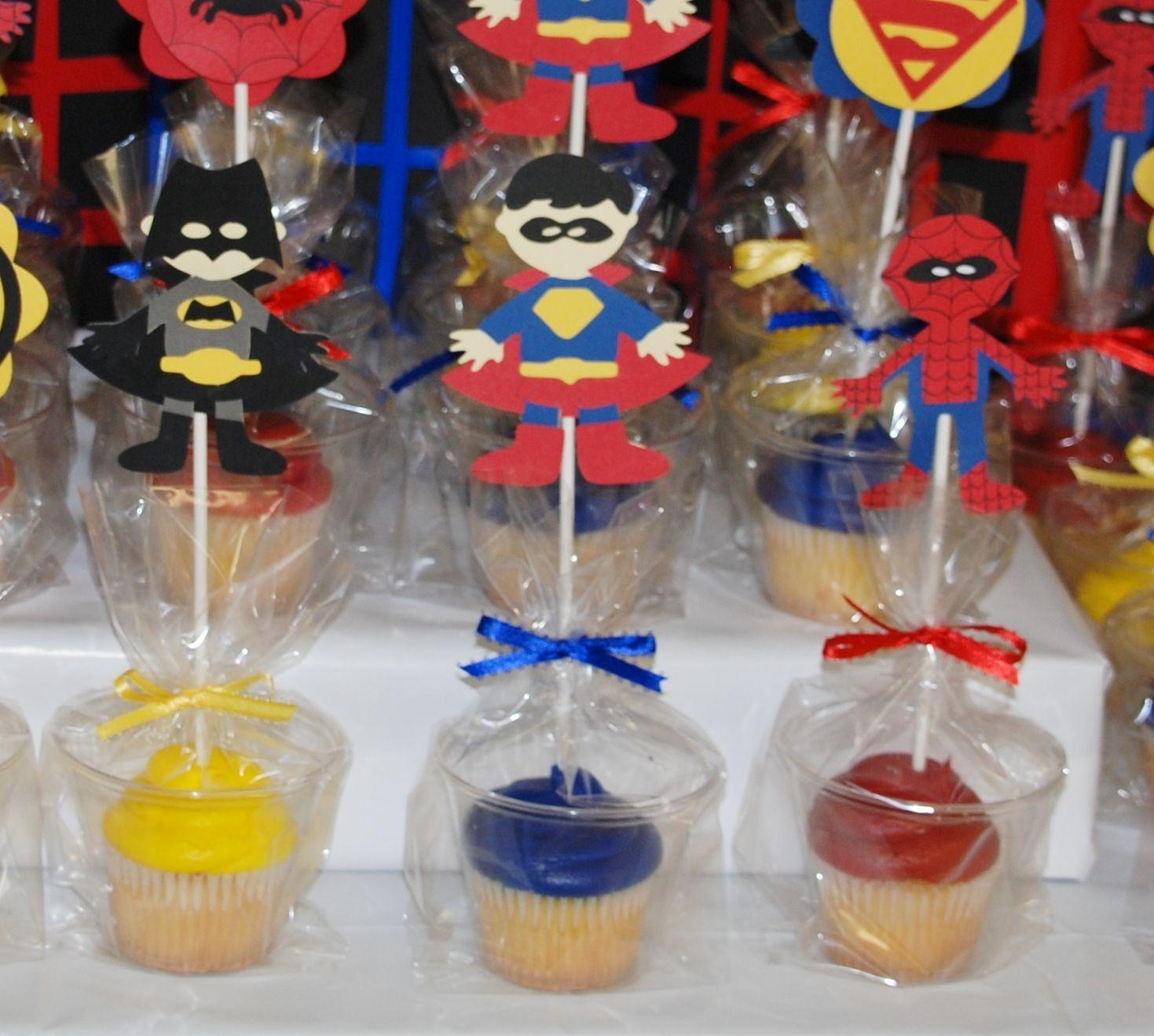 Superhero Baby Shower. Superhero Cupcakes in a Cup ...