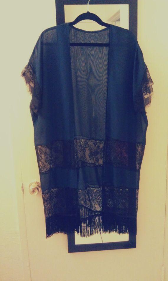 NAVY Chiffon and Lace Kimono Bed Jacket by KVcrimson on Etsy ...