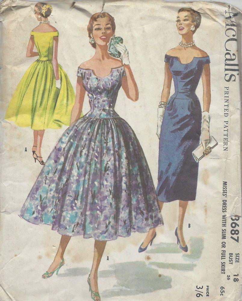 1956 Vintage Sewing Pattern B36 DRESS (R962) | sewing | Pinterest ...