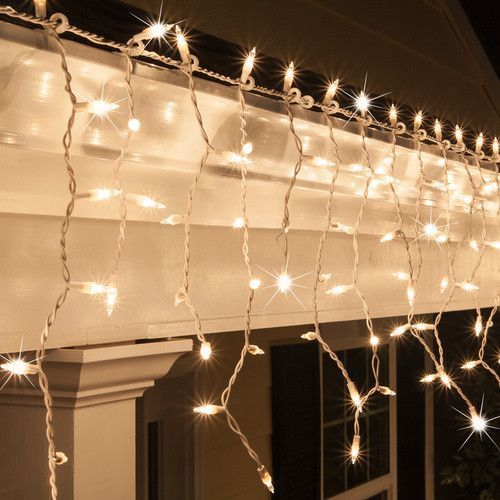 150 Clear Twinkle Mini Icicle Light Set White Wire White Wire Christmas Lights Icicle Lights Outdoor Christmas Lights