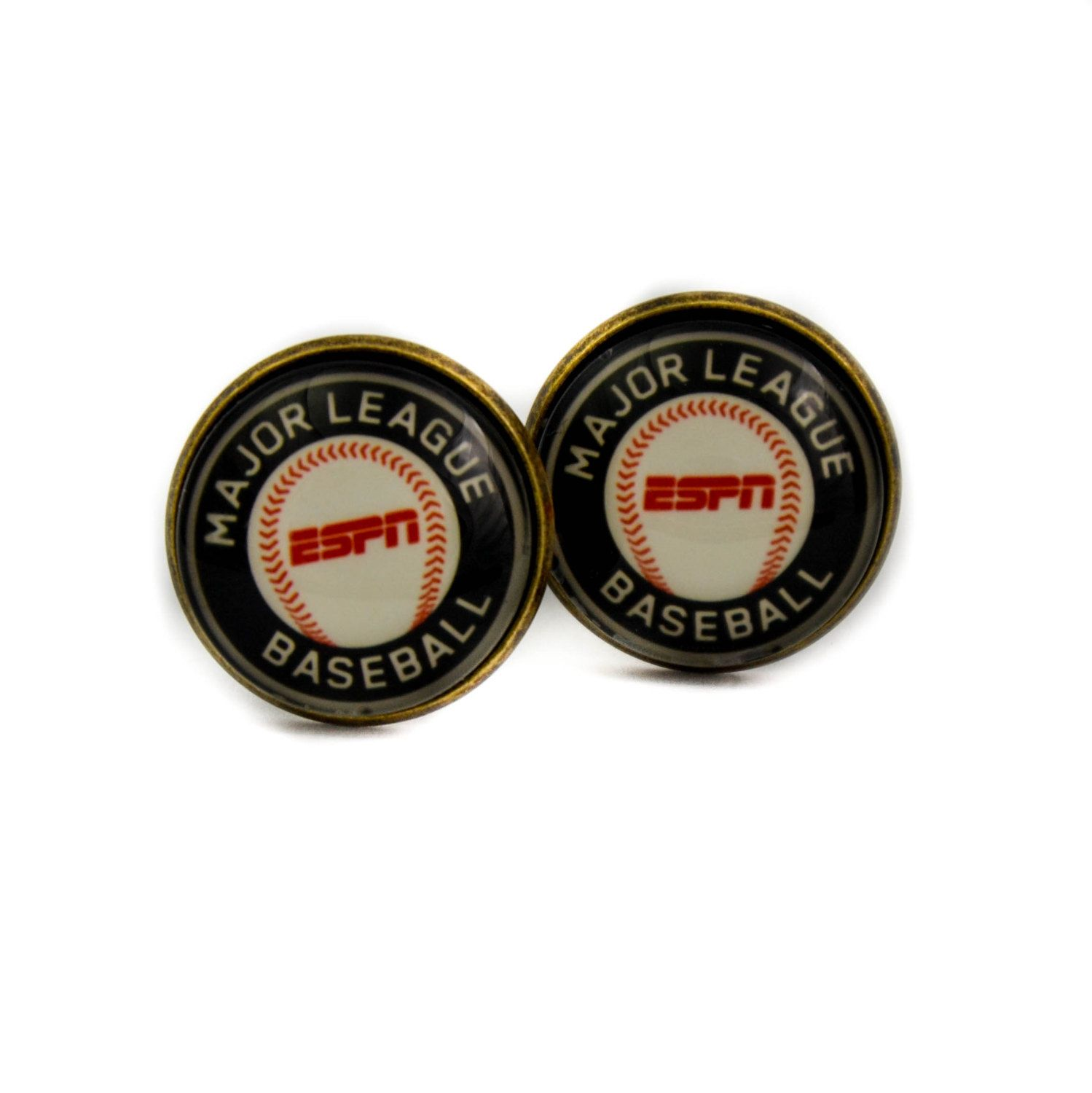 Major League Baseball cufflinks. ESPN cuff links. Personalised Silver,Glass dome cufflinks. Gift for men Anniversary Present by Mysstic on Etsy