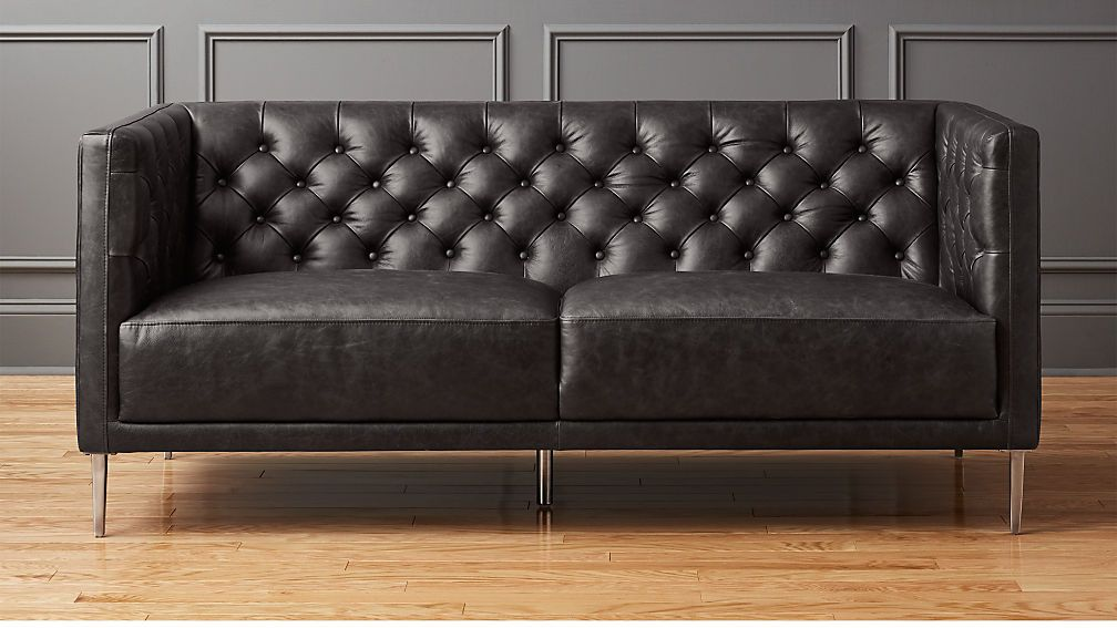 Savile Black Leather Tufted Apartment Sofa Best Leather Sofa