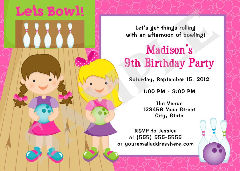 Print Yourself Girls Bowling Birthday Party Invitation Digital ...