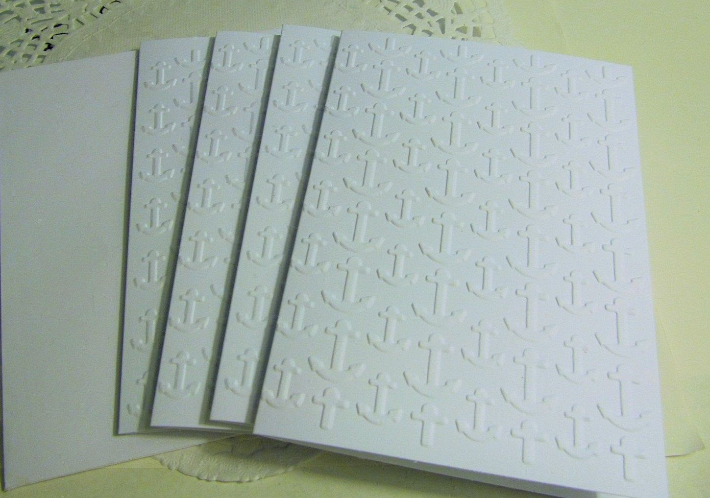 Embossed Anchor Card - A2 Size - White Cardstock -Nautical ...