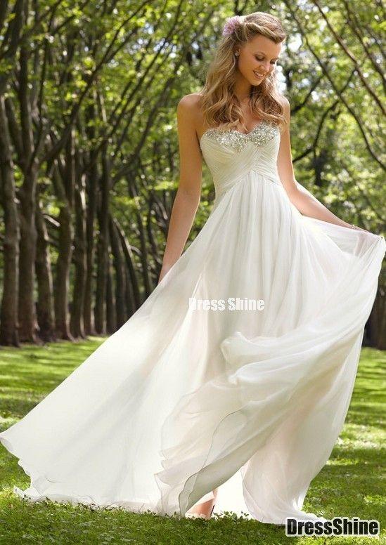 Sheath Sweetheart Satin and Chiffon with Beading Beach Wedding Dress - Wedding Dresses