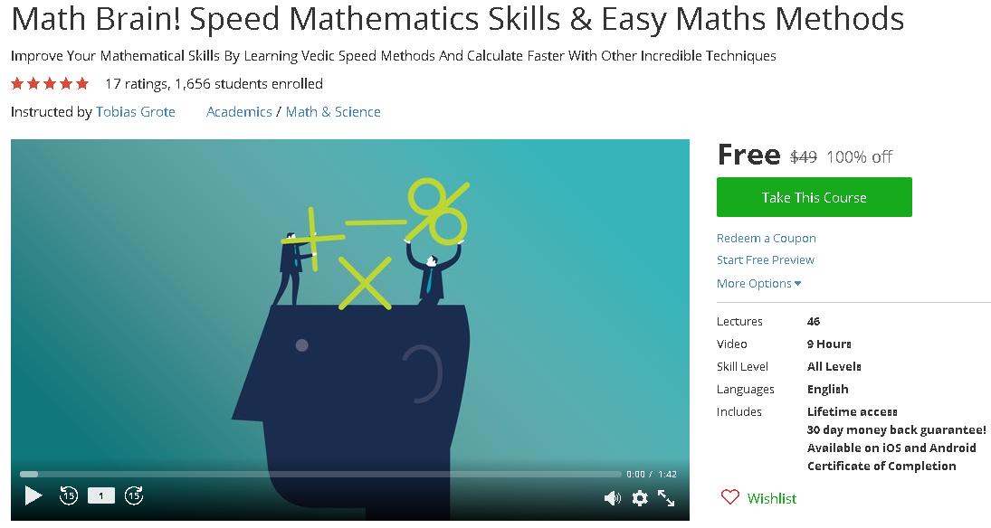 Math Brain! Speed Mathematics Skills & Easy Maths Methods-udemy free ...