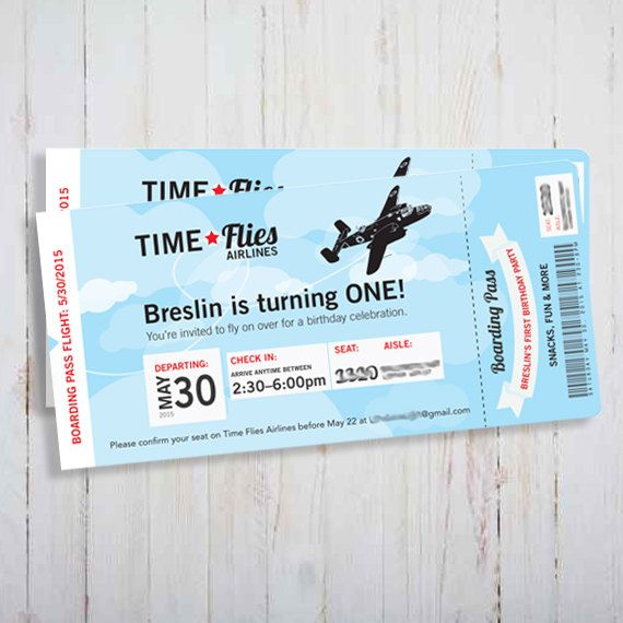 Printable Vintage Airplane Invitation - Plane ticket Time Flies - airline ticket template free
