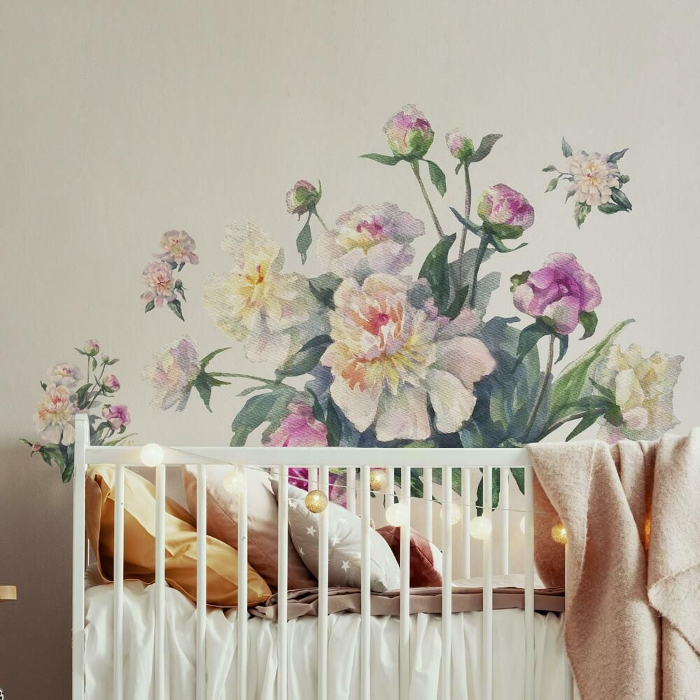 White and Pink Floral Bouquet Peel and Stick Giant Wall Decals - Default Title