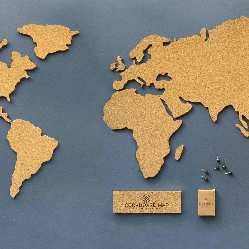 Carte du monde en liège   Corkboard map | Astuces | Pinterest