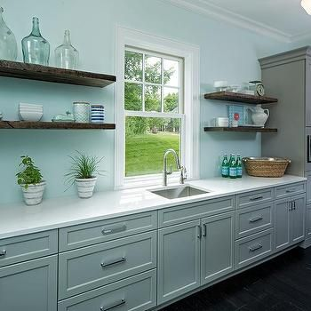 Gray Pantry Cabinets with Floating Wooden Shelves | Shaker ...