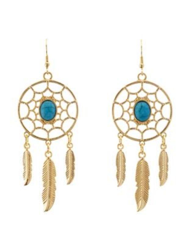 Gold Dangling Dreamcatcher Earrings by Charlotte Russe