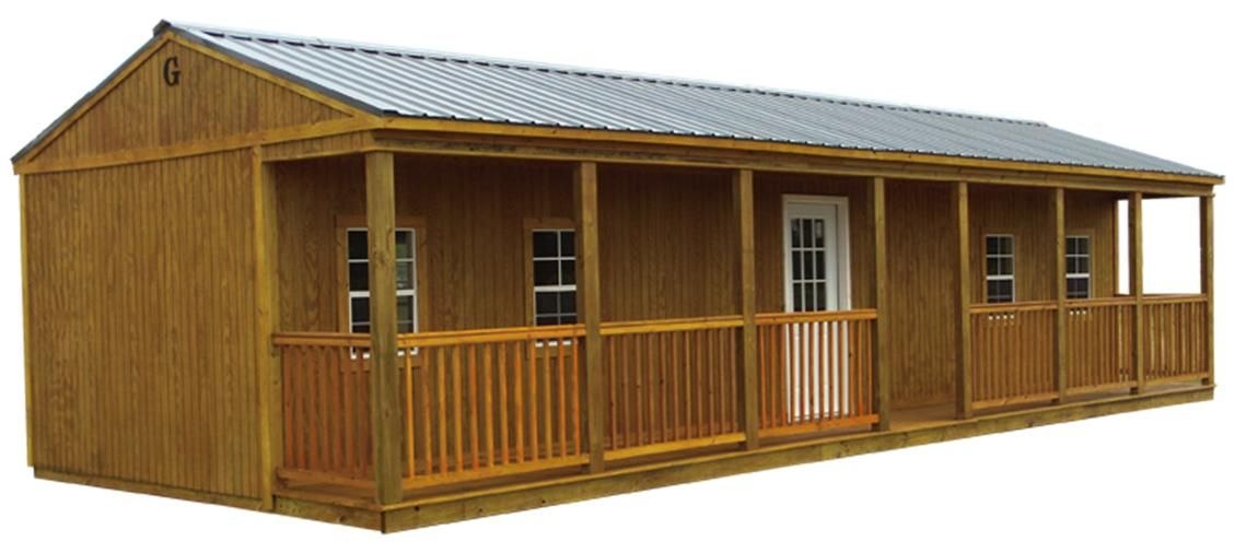 Porch cabin storage buildings building and storage for Barn storage building plans