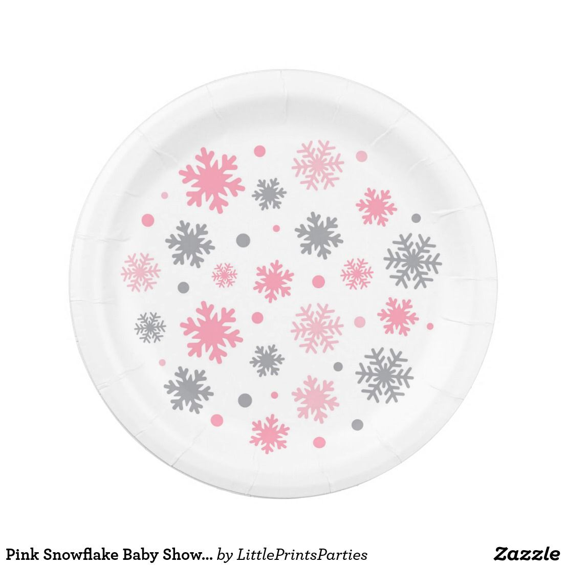Pink Snowflake Baby Shower Paper Plate This modern design features snowflakes in pink and grey  sc 1 st  Pinterest & Pink Snowflake Baby Shower Paper Plate | Snowflake baby shower and ...