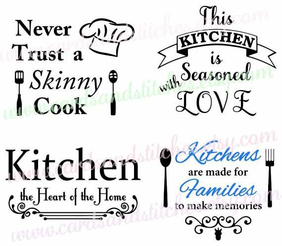 digital cuts clipart decals iron ons and stencils by cardsandstitches - Kitchen Sayings