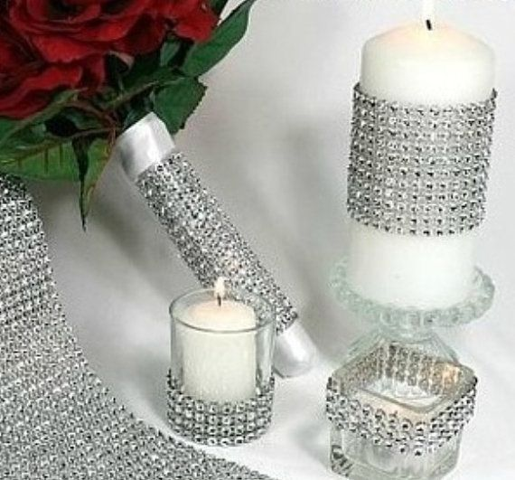 Diamond Rhinestone 20 Yard Ribbon Glitter Bling Wrap Vase Wedding Decoration