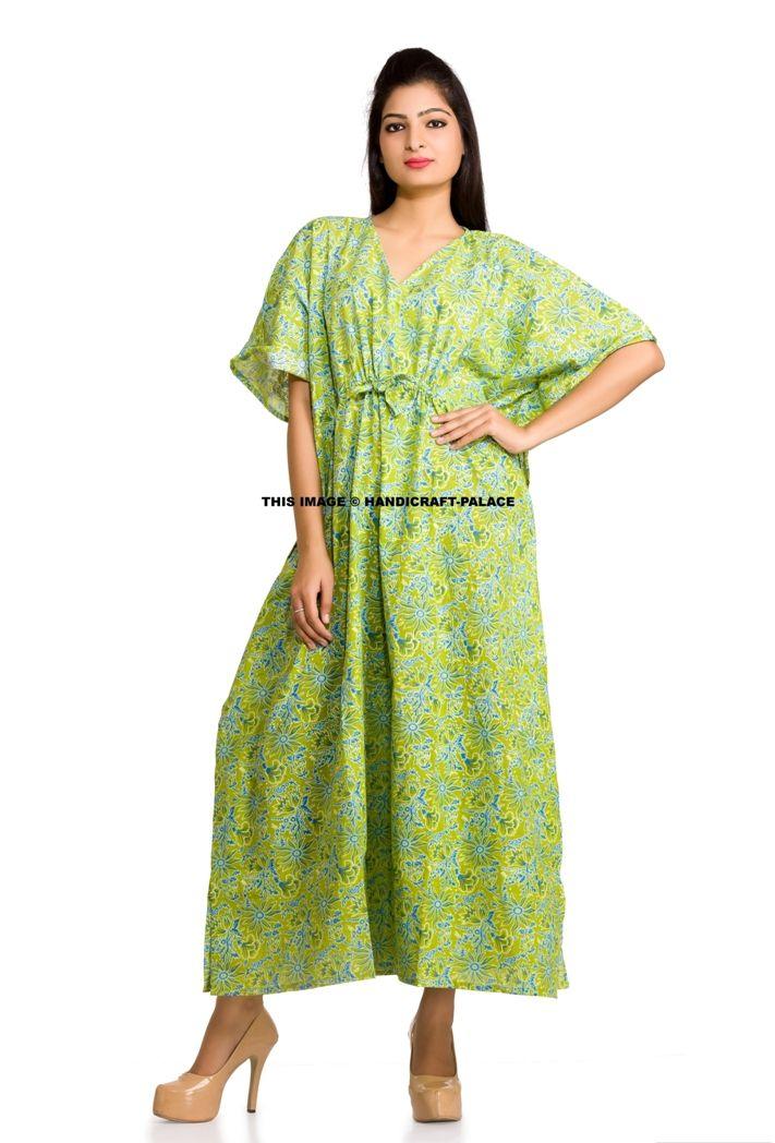 580fb7301a7 Floral Screen Print Kaftan Dress Hippy Boho Maxi Plus Size Women Caftan  Loose Fit Top Dress Night-Gown. Cotton Casual Maxi Dress Beach Wear Boho  Indian.