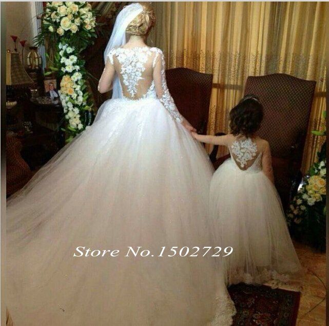 Amazing Ball Gown Scoop Neck Tulle Chapel Train Liques Lace Long Sleeve Wedding Dress In Uk