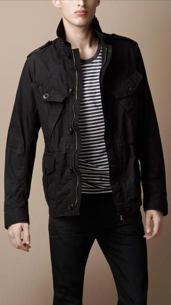 810d1fe49255 Burberry Brit Heritage Cotton Field Jacket in Black for Men