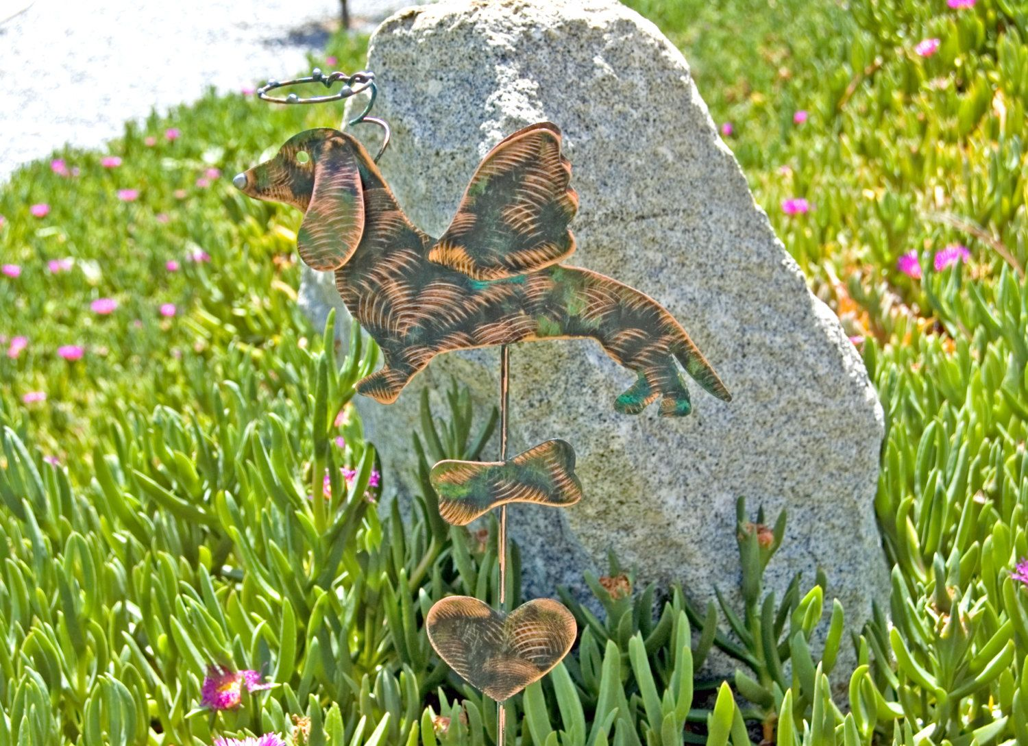 Dachshund Pet Memorial Garden Stake / Grave Marker/ Lawn Ornament / Copper  / Metal /