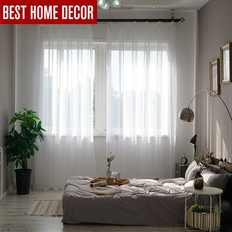 Solid White Tulle Sheer Window Curtains For Living Room The