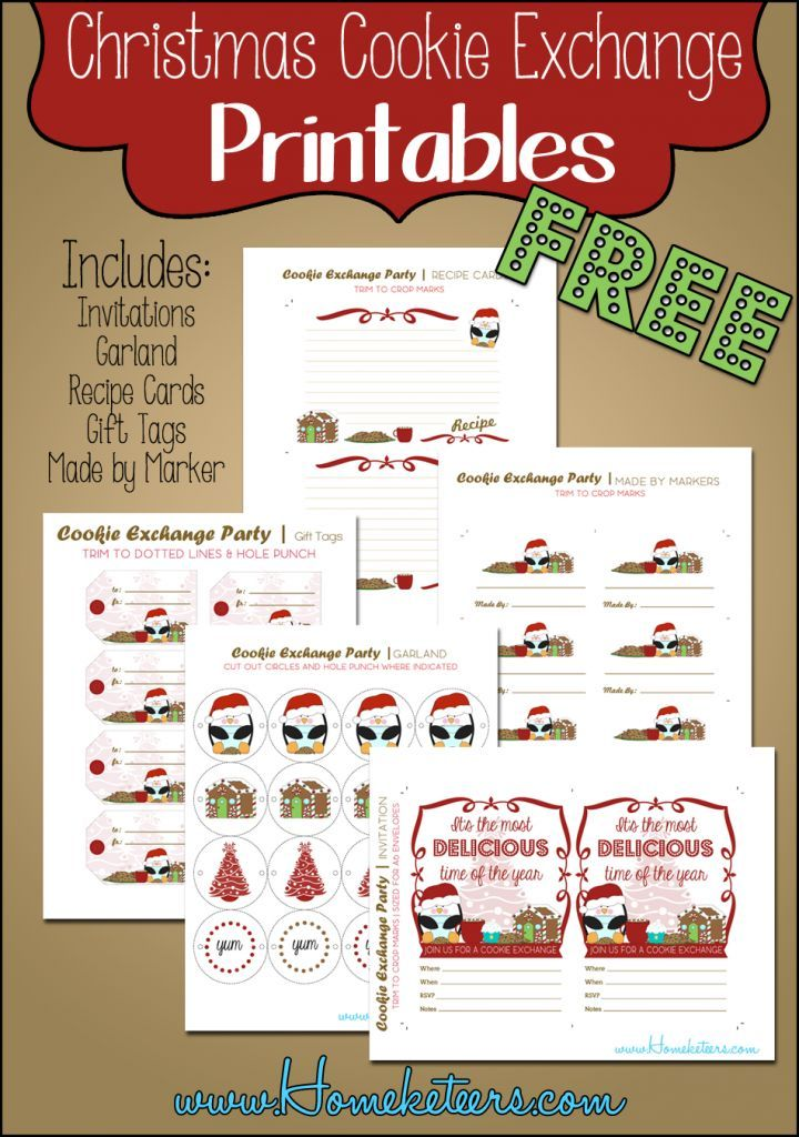 Christmas Cookie Exchange Free Printables Cookie Exchange Invitations Recipe Cards Template Cookie Exchange