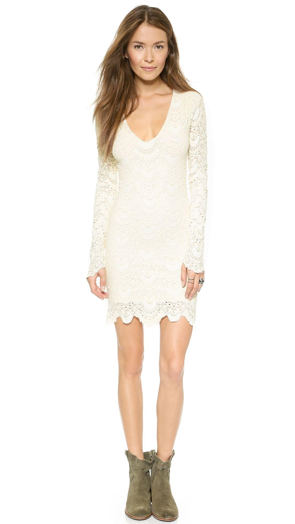 44261acfe8 Nightcap Clothing Spanish Lace Long Sleeve Deep V Dress (white lace long  sleeve  dress)