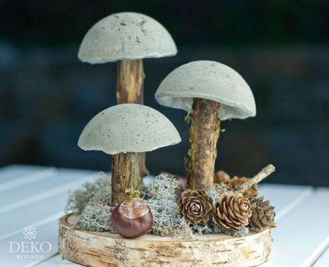 DIY: coole Herbstdeko mit Pilzen aus Beton (Deko-Kitchen) #holzscheibendeko