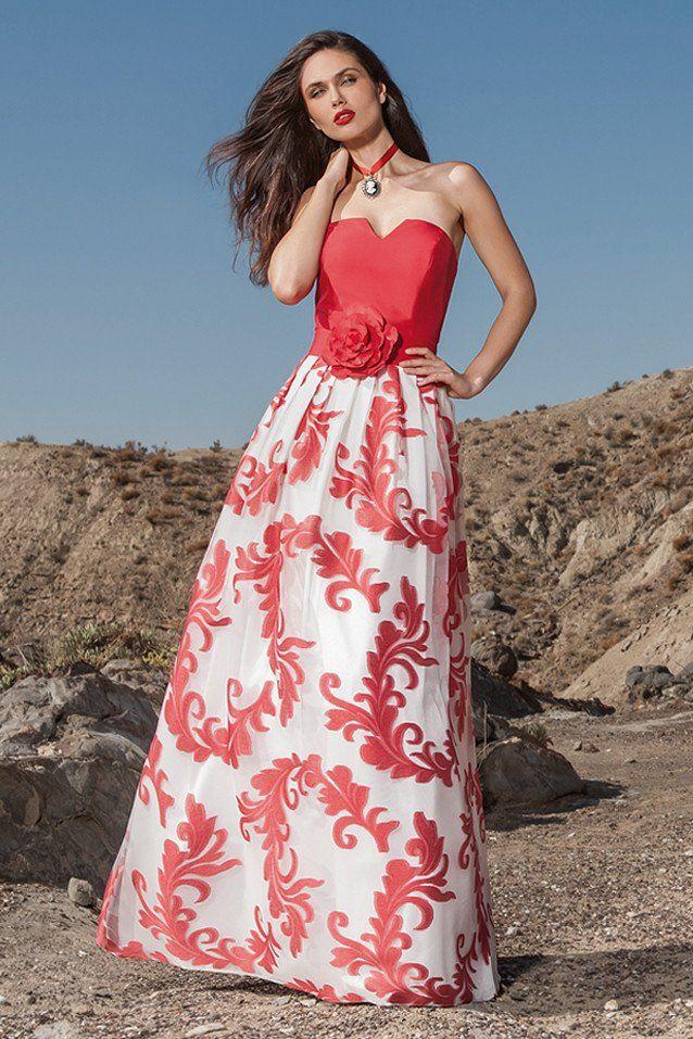 Vestido de fiesta largo de organza color rojo escote corazón ...