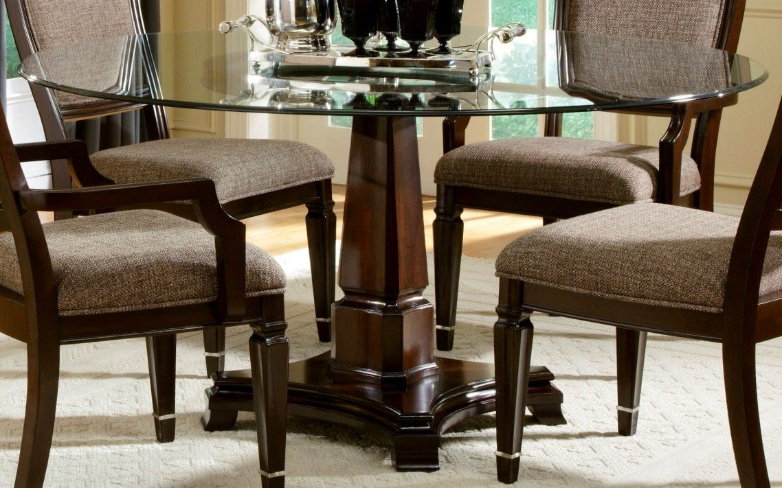 Glass and wood dining room tables - Awesome Classic Brown Varnished Wooden Dining Table Base With Rounded Glass Top