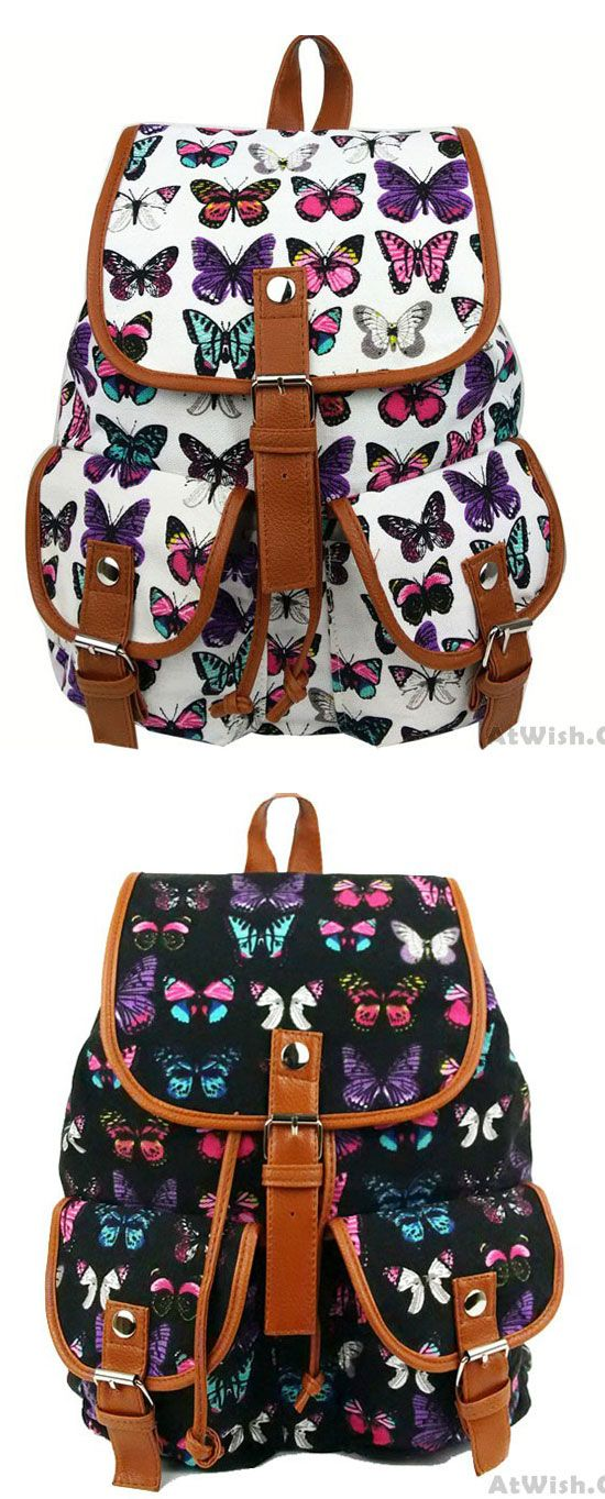fbb936143795 Leisure Butterfly Print Women Rucksack Two Pockets College Bag Canvas  Backpack for big sale!  leisure  butterfly  leisure  school  Backpack  bag   college ...