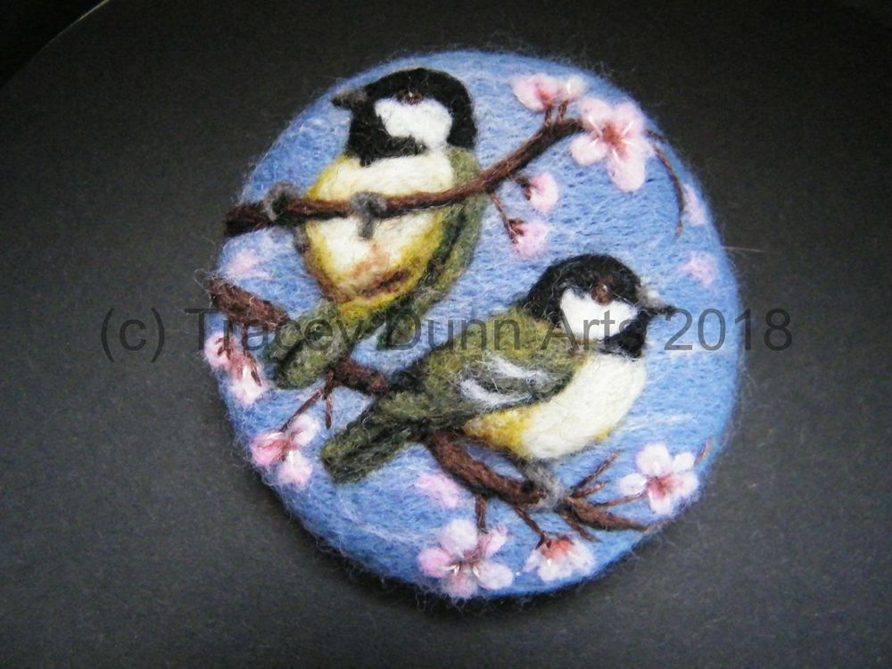Handmade needle felted brooch/Gift  'Coal Tits in the Blossom'  by Tracey Dunn