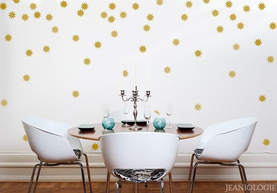 Room Gold Stars Starburst Edition Vinyl Wall Art Decal By Jeaniologie