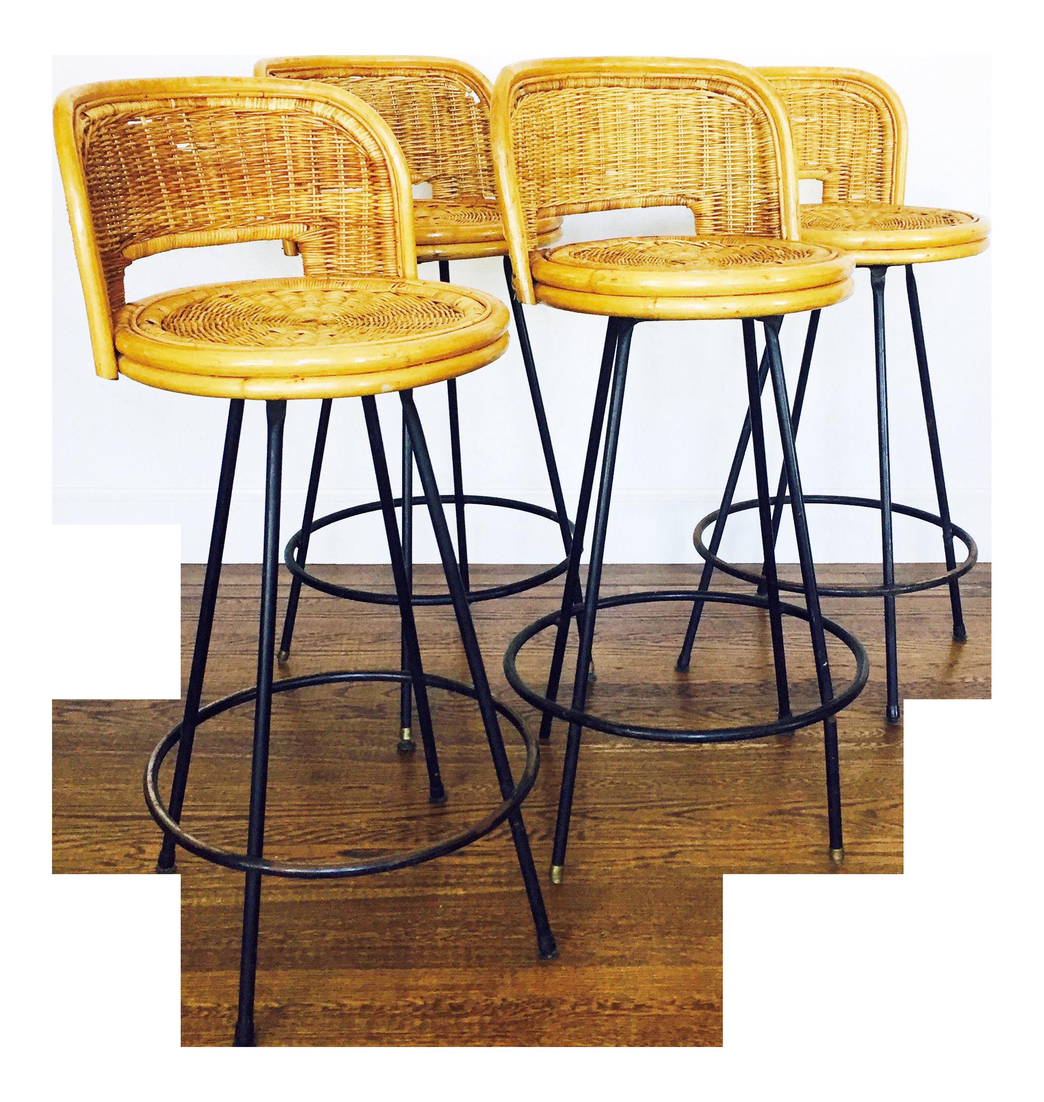 Vintage Rattan & Wrought Iron Bar Stools Set of 4