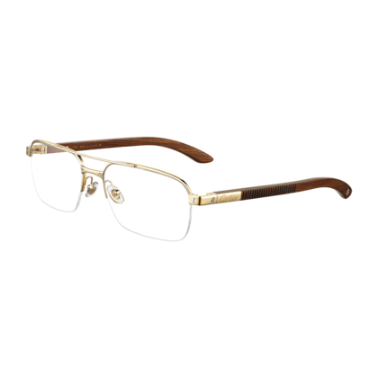 97b26925e Santos wood - Golden finish titanium - Fine Prescription glasses for men -  Cartier