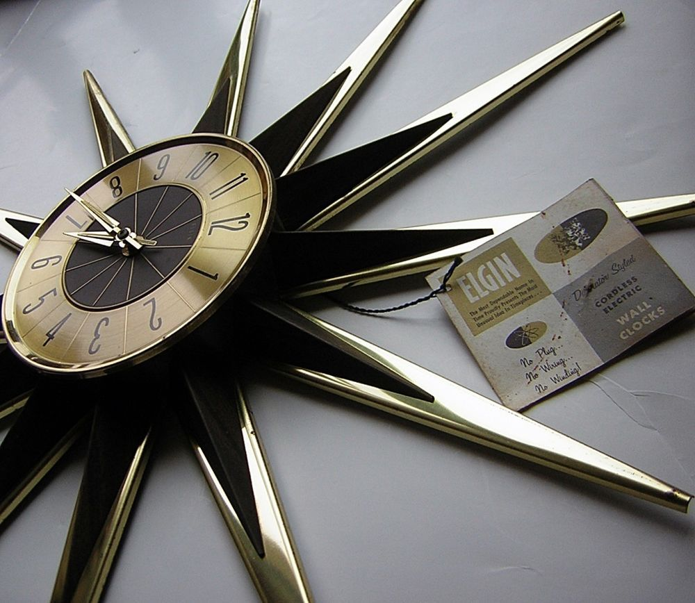 Vtg 60s mid century starburst sunburst elgin eames atomic era wall vtg 60s mid century starburst sunburst elgin eames atomic era wall clock w tag amipublicfo Images
