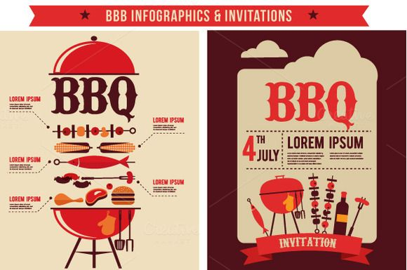 bbq infographics party invitations by zoya on creative market