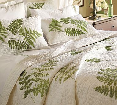 Fern Embroidered Organic Quilt I Sooooo Want This But Pottery