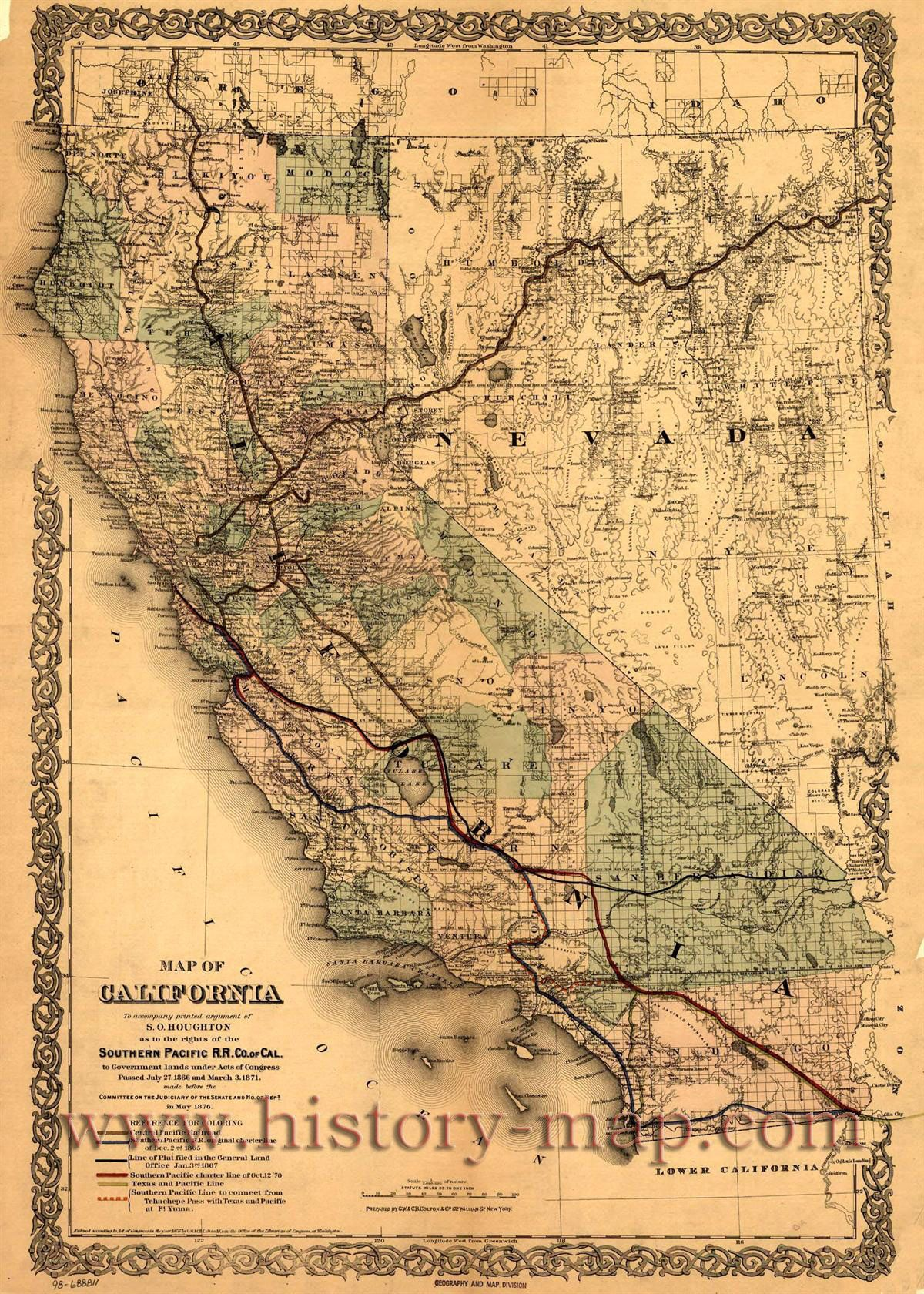 Pin canadian national railroad map on pinterest - Southern Pacific Railroad Map Of California And Surrounding States 1876